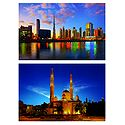 Jumeirah Mosque and Burj Khalifa, Downtown, Dubai - Set of 2 Postcards