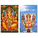 Ganesha & Ganesha with Shiva Parvati - Set of 2 Postcards