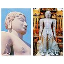 Lord Gomateshwara and Maha Mastabhishekha of Sri Gomateshwara - Set of 2 Postcards