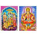 Ram, Sita, Lakshman & Santoshi Mata - Set of 2 Postcards