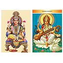 Lakshmi and Saraswati - Set of 2 Postcards