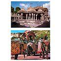 Hathi Singh Jain Temple, Ahmedabad and Elephants in Amer Fort, Jaipur  - Set of 2 Postcards