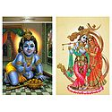 Lord Krishna and Radha Krishna - Set of 2 Postcards
