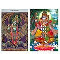 Krishna and Radha Krishna - Set of 2 Postcards