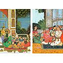 A Prince in a Love Scene inside his Harem and A Prince with his Consort in a Love Scene - Set of 2 Postcards