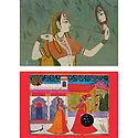 Rajput Princess with Mirror and Rajput King and Queen - Set of 2 Postcards