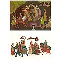 Village Well Scene and Procession - Set of 2 Postcards
