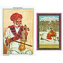 Sarangi Player and Ragini - Set of 2 Postcards