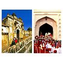 Elephants Descending from Amer Fort and Tripolia Gate, Jaipur - Set of 2 Postcards