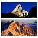 Matterhorn, Zermatt and Aiguille Verte, Switzerland  - Set of 2 Postcards
