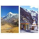 Mountain View from Sikkim & Prayer Wheel & Stupa, Ladakh - Set of 2 Postcards