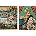 Emperor Akbar with his Consort Maryam - (Set of Two)