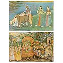 Radha Krishna with Gopinis and Cows - (Set of Two)