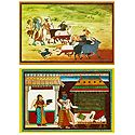 Krishna and Balaram with Cows and Secret Rendezvous of Radha Krishna - (Set of Two)