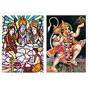 Ram, Lakshman, Sita and Hanuman - Set of 2 Postcards