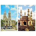 Charminar, Hyderabad and Church, Mysore  - Set of 2 Postcards