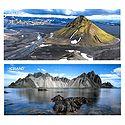 Myrdalsjokull Glacier, View from Stokksnes, Iceland - Set of 2 Postcards