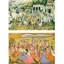 Krishna, Balaram at Vrindavan and Raas Lila - Set of 2 Postcards
