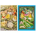 Radha Krishna with Gopis and Gopinis - Set of 2 Postcards