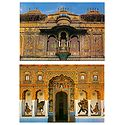 City Palace in Udaipur and Shekhawati in Rajasthan - Set of 2 Postcards