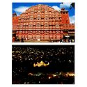 The Hawa Mahal and Night View of the Museum, Jaipur - Set of 2 Postcards