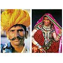 Rajasthani Man & Gujrati Woman - Set of 2 Postcards