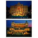 Trevi Fountain and Vittorio Emanuele II in Rome - Set of 2 Postcards