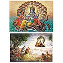 Vishnu with Lakshmi - Set of 2 Postcards