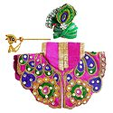 Embroidered Magenta Dress, Crown and Flute for 4 Inches Bal Gopal Idol