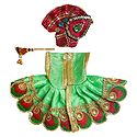 Embroidered Green Dress, Crown and Flute for 3 Inches Bal Gopal Idol
