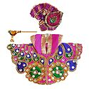 Embroidered Multicolor Dress, Crown and Flute for 3 Inches Bal Gopal Idol