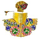 Yellow Dress, Crown and Flute for 2.5 Inches Bal Gopal Idol