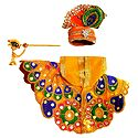 Yellow Dress, Crown and Flute for 4 Inches Bal Gopal Idol