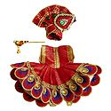 Red Dress, Crown and Flute for 3 Inches Bal Gopal Idol