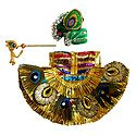 Decorated Dress, Crown and Flute for 5 Inches Bal Gopal Idol