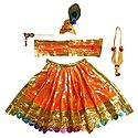 Saffron Dress, Crown, Garland and Flute for 5 Inches Krishnal Idol