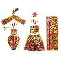 Red with Golden Dresses and Accessories for 11 Inches Radha Krishna Idols