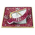 Marble Plate with Haldi Kumkum Container
