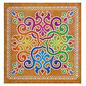 Colorful Alpana Design on Glazed Paper Sticker