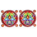 Set of 2 Rangoli Stickers with Diya Print