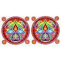 Set of 2 Rangoli Stickers with Diya Print