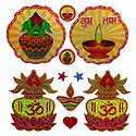 2 Pairs of Kalash and Diya Sticker
