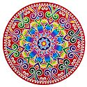 Multicolor Alpana Design on Round Sticker