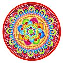 Multicolor Alpana Print on Round Sticker