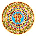 Rangoli Paper Sticker with Charan Print