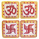 2 Pairs of Om and Swastika Sticker - Hindu Symbol