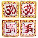2 Pairs of Om and Swastika Sticker - Hindu Symbol