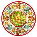 Diya and Paisley Print on Sticker Rangoli