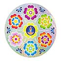 Colorful Sticker Rangoli Flower Print with Diya on Glazed Paper Sticker