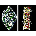 Set of Two Hand Painted Colorful Rangoli Design Template on Paper